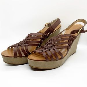 BANANA REPUBLIC BROWN OPEN TOE SHOES WEDGES SZ 10